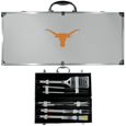 Texas Longhorns 8 pc Stainless Steel BBQ Set w/Metal Case