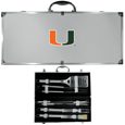 Miami Hurricanes 8 pc Stainless Steel BBQ Set w/Metal Case
