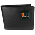 Miami Hurricanes Leather Bi-fold Wallet Packaged in Gift Box