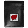 Wisconsin Badgers Leather Money Clip/Cardholder Packaged in Gift Box