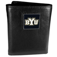 BYU Cougars Deluxe Leather Tri-fold Wallet Packaged in Gift Box