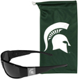 Michigan St. Spartans Etched Chrome Wrap Sunglasses and Bag