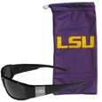 LSU Tigers Etched Chrome Wrap Sunglasses and Bag