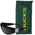 Oregon Ducks Etched Chrome Wrap Sunglasses and Bag