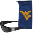 W. Virginia Mountaineers Etched Chrome Wrap Sunglasses and Bag
