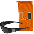 Miami Hurricanes Etched Chrome Wrap Sunglasses and Bag