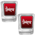 Nebraska Cornhuskers Square Glass Shot Glass Set