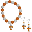 Tennessee Volunteers Fan Bead Earrings and Bracelet Set