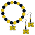 Michigan Wolverines Fan Bead Earrings and Bracelet Set
