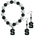 Michigan St. Spartans Fan Bead Earrings and Bracelet Set