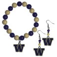 Washington Huskies Fan Bead Earrings and Bracelet Set