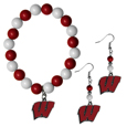 Wisconsin Badgers Fan Bead Earrings and Bracelet Set