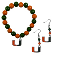 Miami Hurricanes Fan Bead Earrings and Bracelet Set