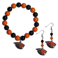 Oregon St. Beavers Fan Bead Earrings and Bracelet Set