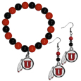 Utah Utes Fan Bead Earrings and Bracelet Set
