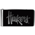 Nebraska Cornhuskers Black and Steel Money Clip