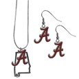 Alabama Crimson Tide Dangle Earrings and State Necklace Set