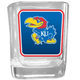 Kansas Jayhawks Square Glass Shot Glass