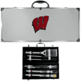 Wisconsin Badgers 8 pc Stainless Steel BBQ Set w/Metal Case