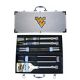W. Virginia Mountaineers 8 pc Stainless Steel BBQ Set w/Metal Case