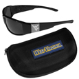 W. Virginia Mountaineers Chrome Wrap Sunglasses and Zippered Carrying Case
