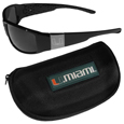 Miami Hurricanes Chrome Wrap Sunglasses and Zippered Carrying Case