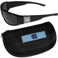 N. Carolina Tar Heels Chrome Wrap Sunglasses and Zippered Carrying Case