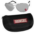 Oklahoma Sooners Aviator Sunglasses and Zippered Carrying Case