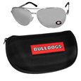 Georgia Bulldogs Aviator Sunglasses and Zippered Carrying Case