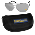 W. Virginia Mountaineers Aviator Sunglasses and Zippered Carrying Case