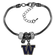 Washington Huskies Euro Bead Bracelet