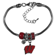 Wisconsin Badgers Euro Bead Bracelet