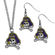 East Carolina Pirates Dangle Earrings and Chain Necklace Set