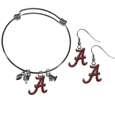 Alabama Crimson Tide Dangle Earrings and Charm Bangle Bracelet Set