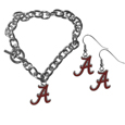 Alabama Crimson Tide Chain Bracelet and Dangle Earring Set