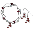 Alabama Crimson Tide Dangle Earrings and Crystal Bead Bracelet Set