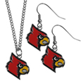 Louisville Cardinals Dangle Earrings and Chain Necklace Set