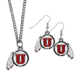 Utah Utes Dangle Earrings and Chain Necklace Set