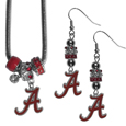 Alabama Crimson Tide Euro Bead Earrings and Necklace Set