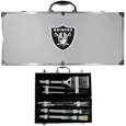 Oakland Raiders 8 pc Stainless Steel BBQ Set w/Metal Case