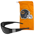 Chicago Bears Etched Chrome Wrap Sunglasses and Bag