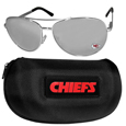 Kansas City Chiefs Aviator Sunglasses and Zippered Carrying Case
