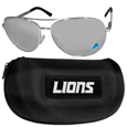 Detroit Lions Aviator Sunglasses and Zippered Carrying Case
