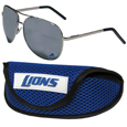 Detroit Lions Aviator Sunglasses and Sports Case