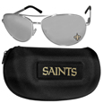 New Orleans Saints Aviator Sunglasses and Zippered Carrying Case