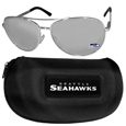 Seattle Seahawks Aviator Sunglasses and Zippered Carrying Case
