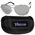Minnesota Vikings Aviator Sunglasses and Zippered Carrying Case