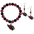 Arizona Cardinals Fan Bead Earrings and Bracelet Set