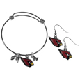 Arizona Cardinals Dangle Earrings and Charm Bangle Bracelet Set