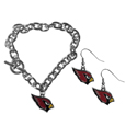 Arizona Cardinals Chain Bracelet and Dangle Earring Set